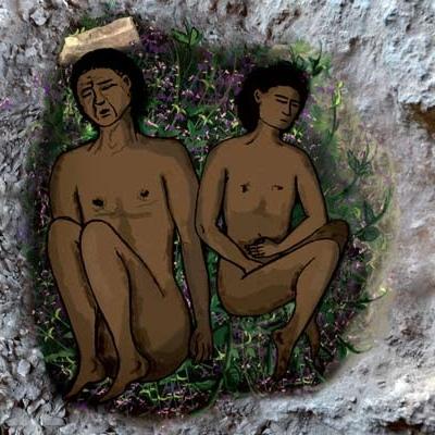 Natufisk huleboer-begravelse med blomster, rekonstruktion