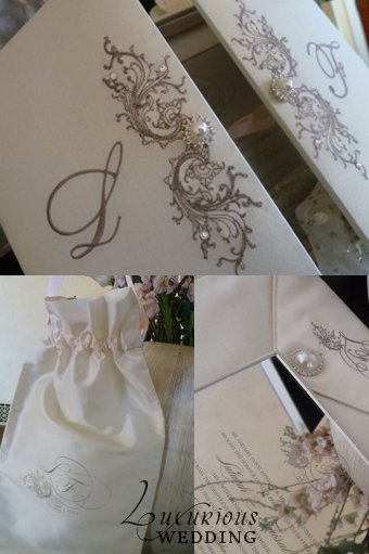 A classic ivory silk box wedding invitation was transformed to give a regal