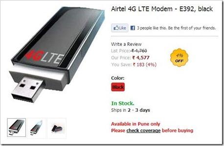 Airtel 4G LTE postpaid tariff plan in Pune-Airtel 4G LTE Modem – E392