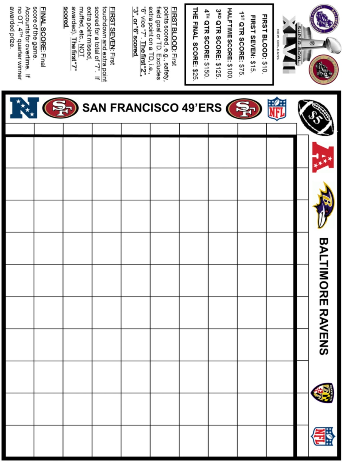 Bewitching image in printable super bowl pools