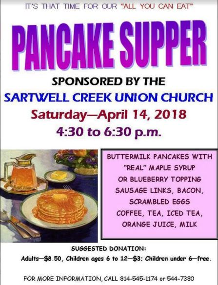 4-14 Pancake Supper Sartwell Creek