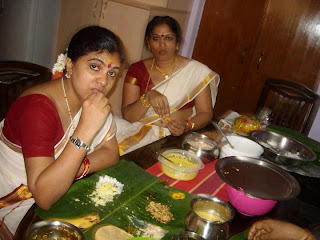 Malayali aunty having her onam feast.