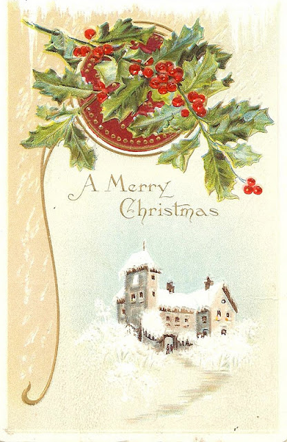 Antique-Christmas Postcard-snowy woods-farmhouse christmas-via KnickofTimeInteriors.blogspot.com
