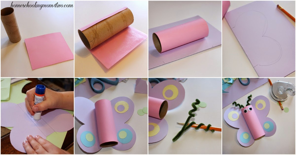 Toilet Paper Roll Butterfly Kids Craft step by step