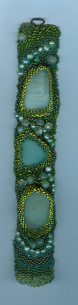 3 pcs of beach glass on a cuff #3