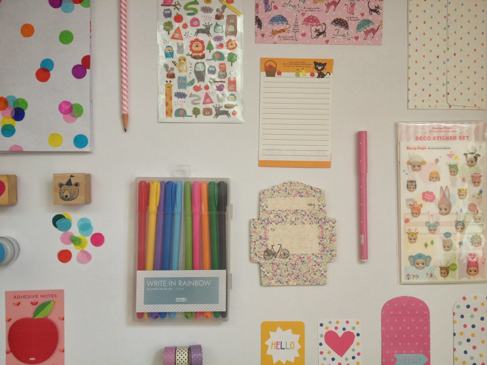 here are some of the things i like to keep in my letter writing kit i like to keep envelopes pens stamps pencils stickers washi tape paper and sticky