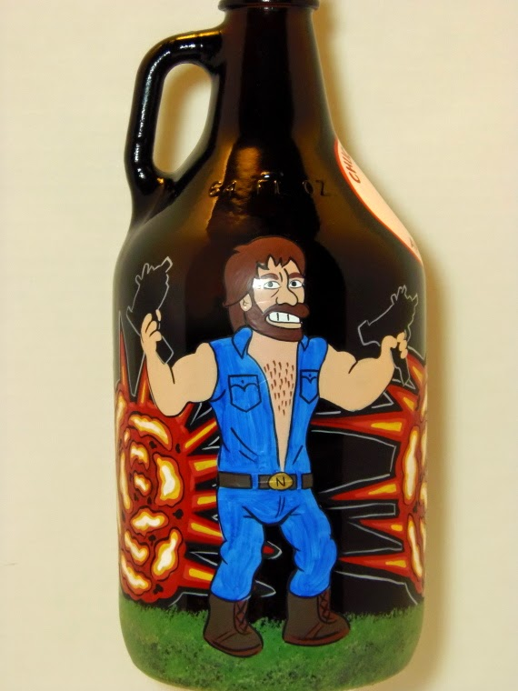 Chuck Norris Painted Growler via Kudos Kitchen by Renee