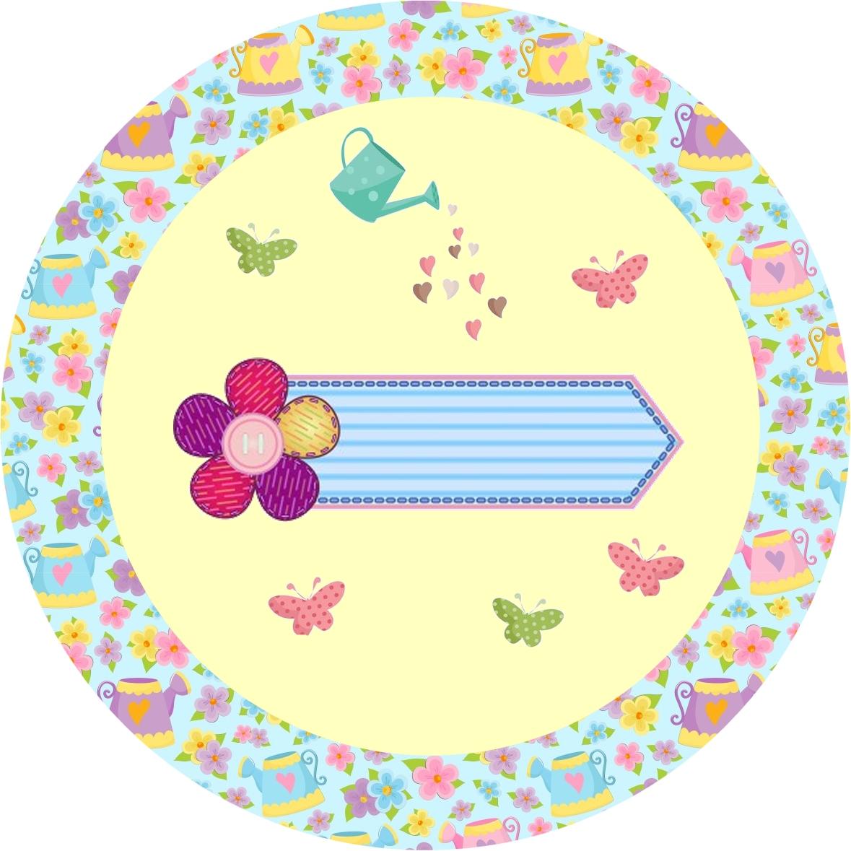decorar meu jardim:Jardim de Flores Rosa e Azul – Kit Completo com molduras para convites