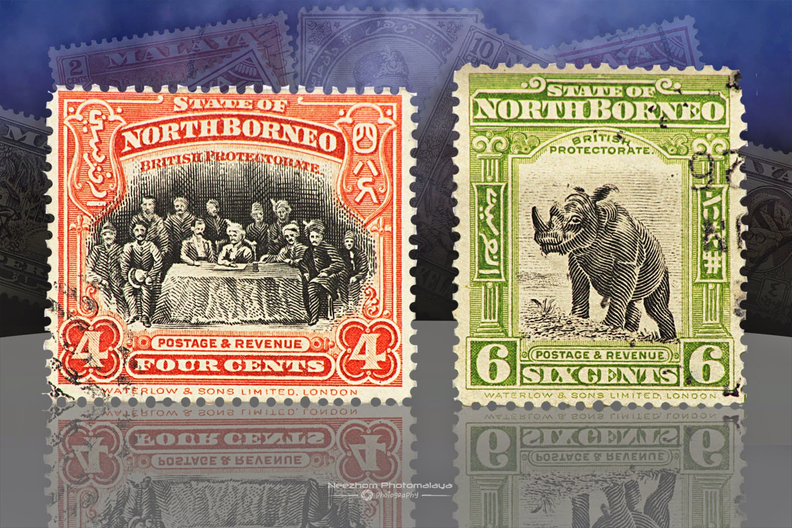 Setem North Borneo 4 Cents 1909, 6 Cents 1909