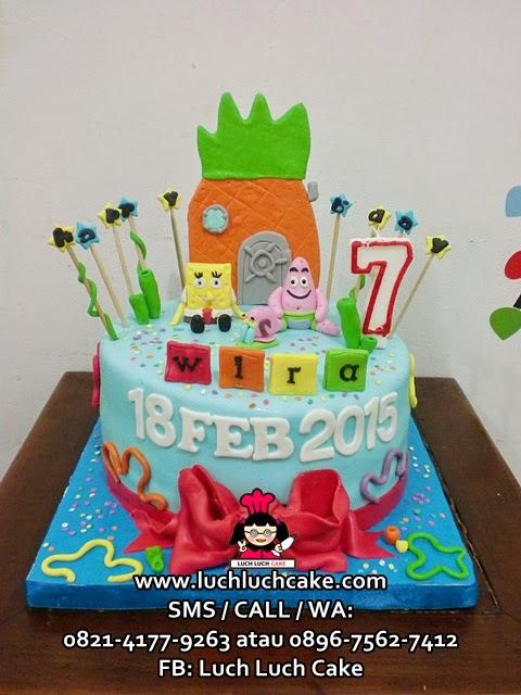 Kue tart Spongebob Fondant Daerah Surabaya - Sidoarjo