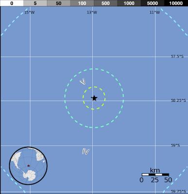 Epicentro terremoto 6,6 grados en islas Sandwich del Sur, 24 de Octubre 2013