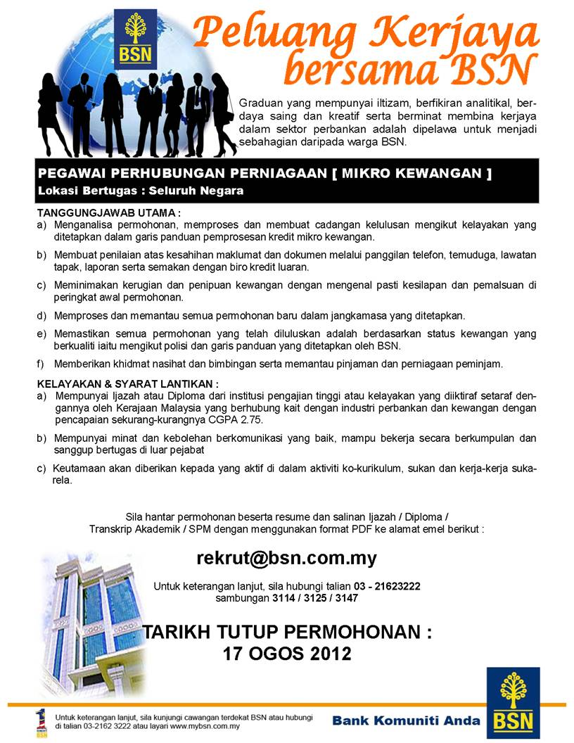 Faisal Zulhumadi: Job Vacancy: BANK SIMPANAN NASIONAL