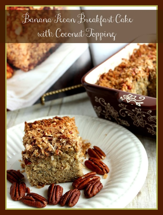 Banana Pecan Breakfast Cake with Coconut Topping Recipe