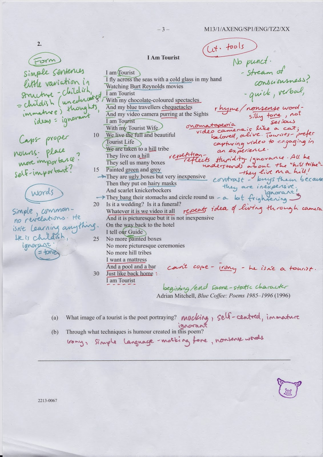 the nardvark how to kick ib language a paper one s butt by nerdvark s colour coded annotations of i am tourist by adrian mitchell for ib english paper 1