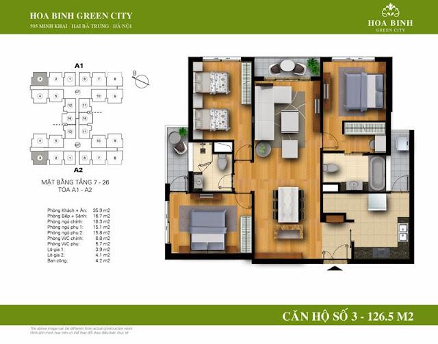 chung cư Hòa Bình Green City Căn hộ số 3 dt 126.5m2