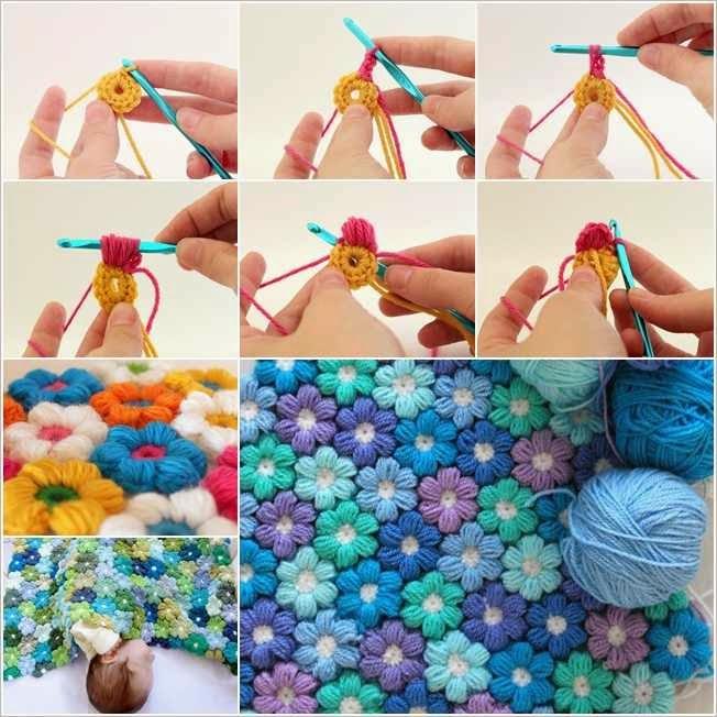 Crochet Puff Stitch Flower Free Pattern : Crochet 6 Petal Puff Stitch Flower Blanket Creative Ideas
