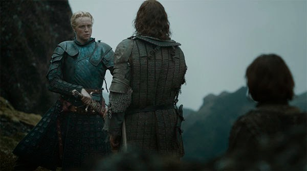 Brienne, The Hound and Arya in Game of Thrones 4x10