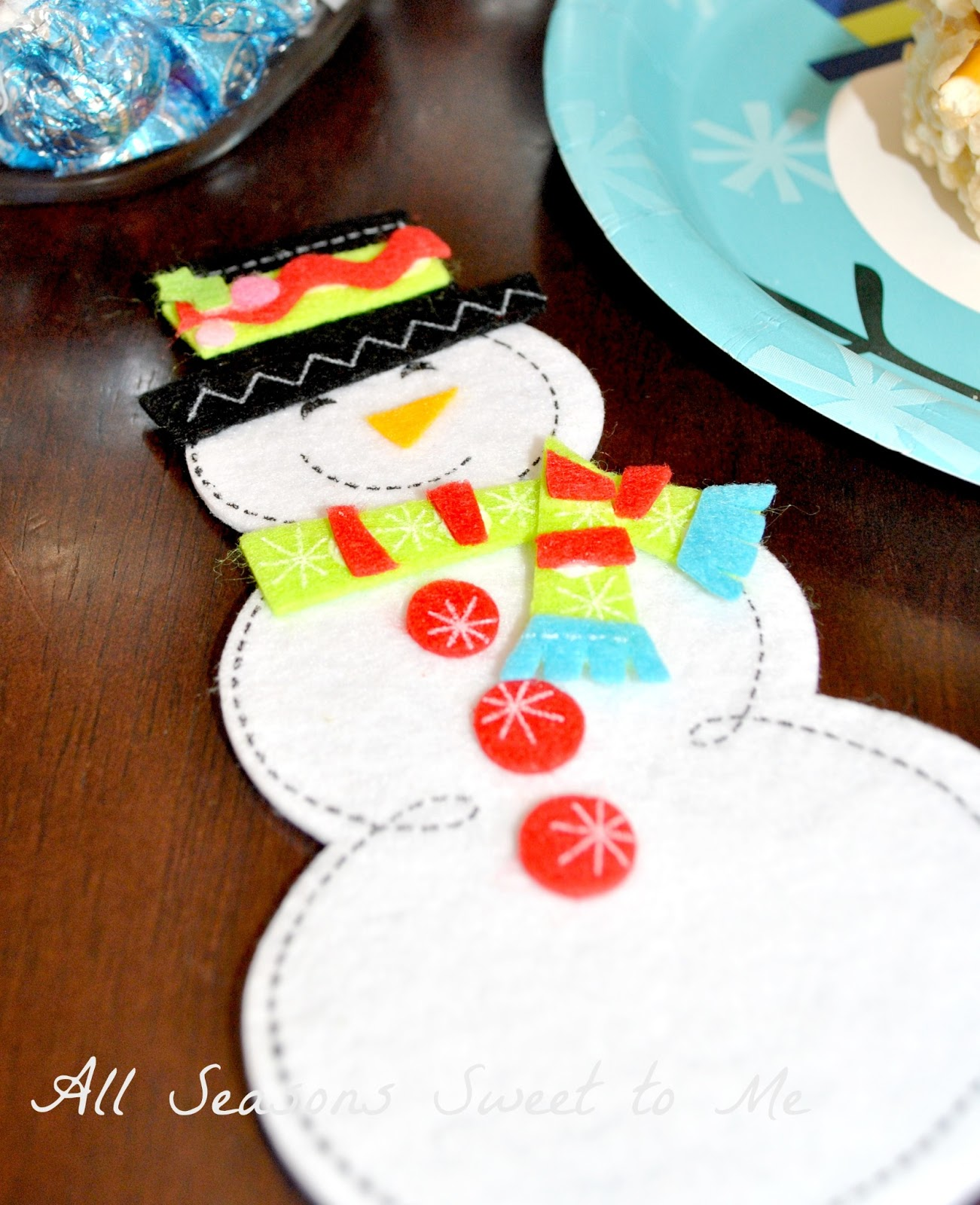 All seasons sweet to me snowmen and polar animal fun we also put together a paper plate snowman just turn the plate over and use colored construction paper to cut out a hat nose eyes and mouth jeuxipadfo Gallery