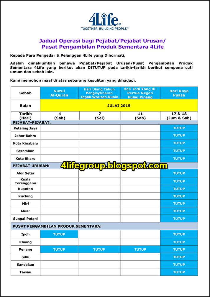 foto Jadual Operasi Bulanan Julai 2015 4Life Malaysia