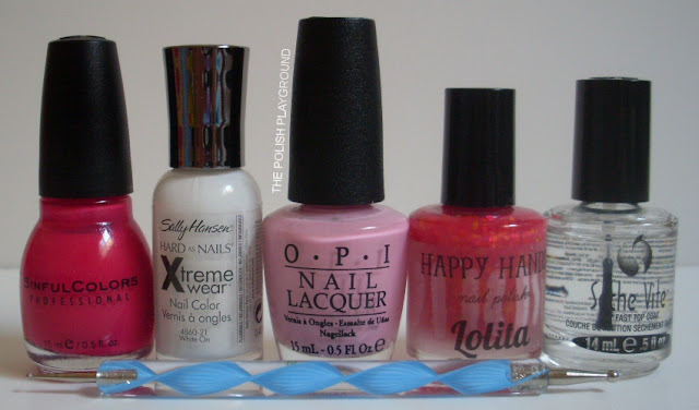 Sinful Colors, Sally Hansen, OPI, Happy Hands, Seche Vite, dotting tool