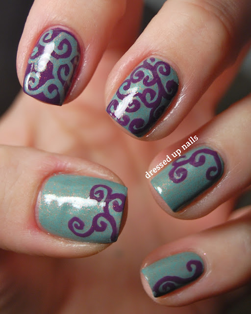 Dressed Up Nails - shimmery, swirly freehand nail art with butter LONDON Two Fingered Salute and Zoya Tru