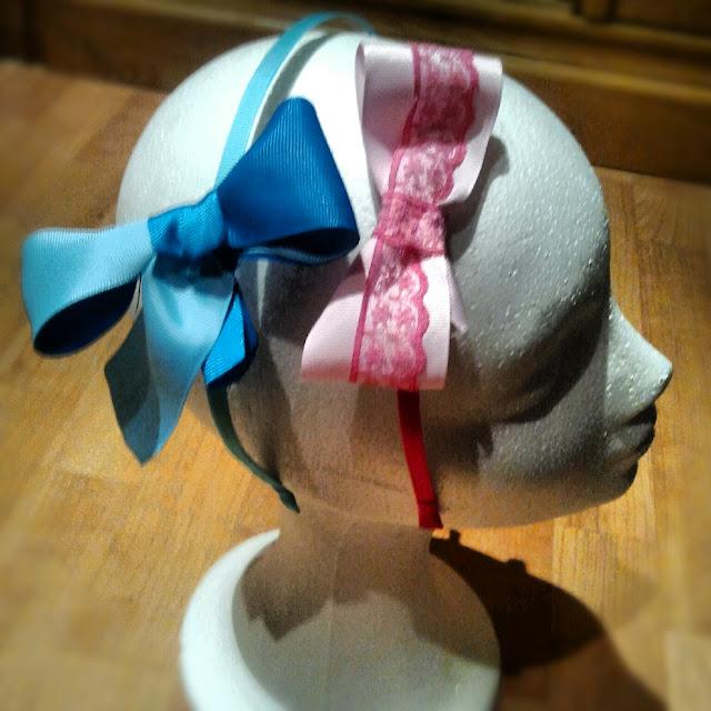 diadema, lazo, rosa, azul, puntilla
