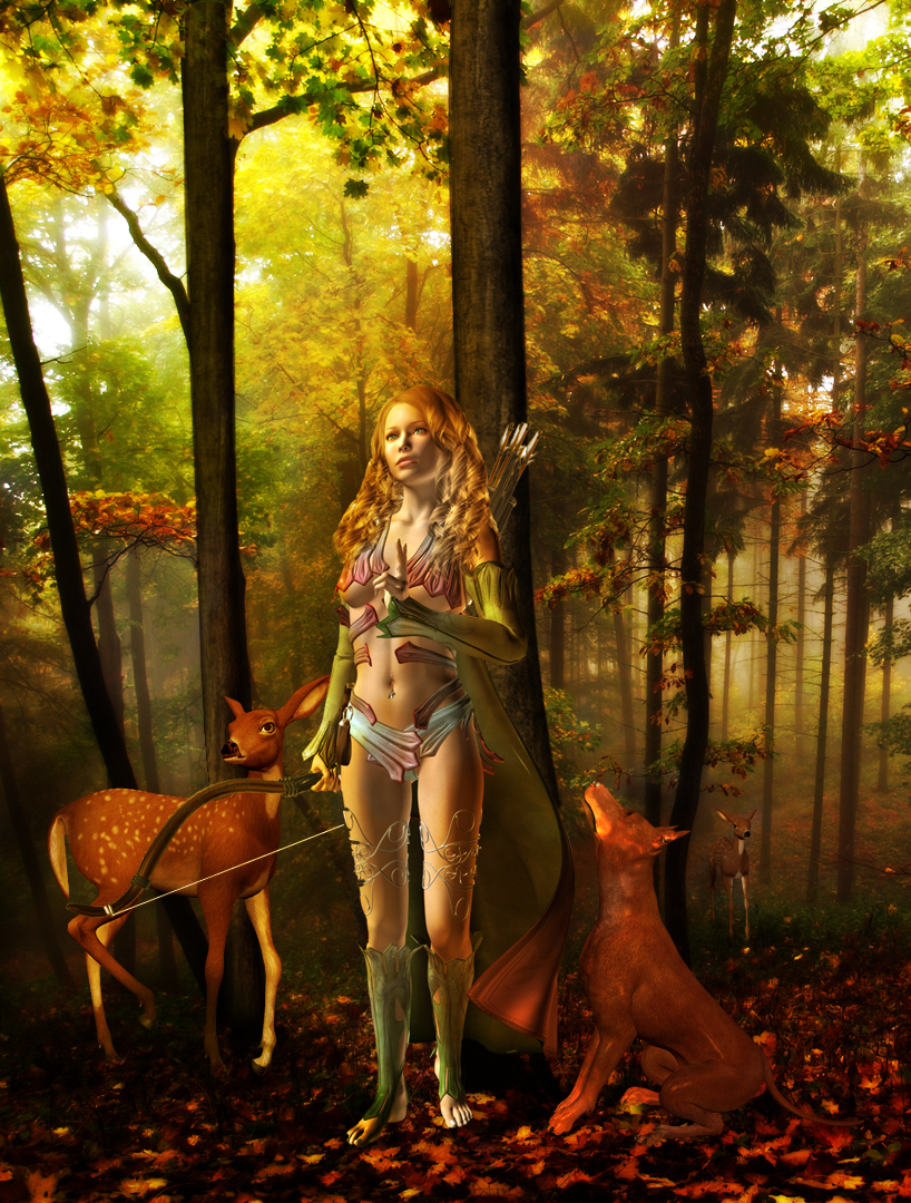 Goddess Artemis, by ~UshaKiran