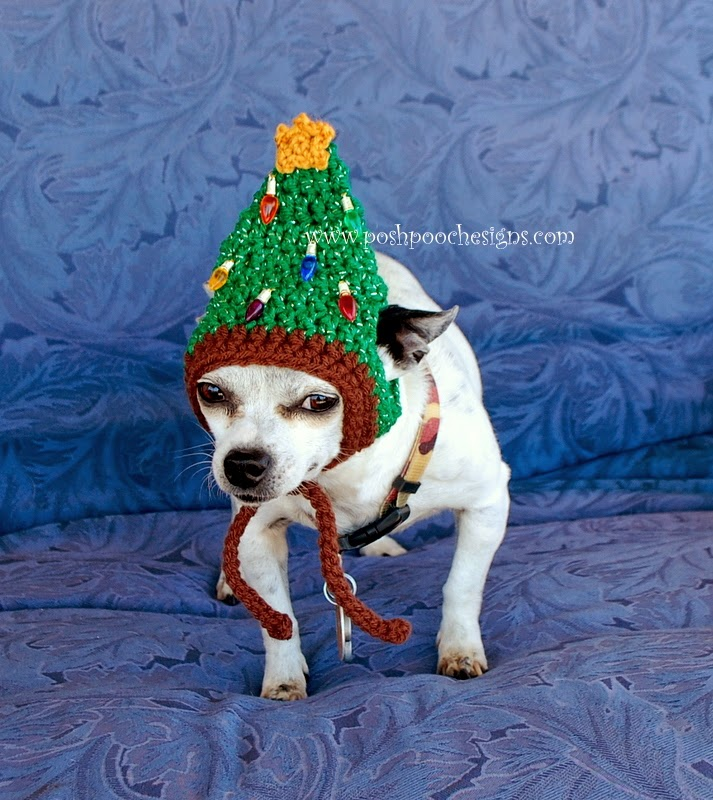 Posh Pooch Designs Dog Clothes: Christmas Tree Dog Hat Crochet Pattern