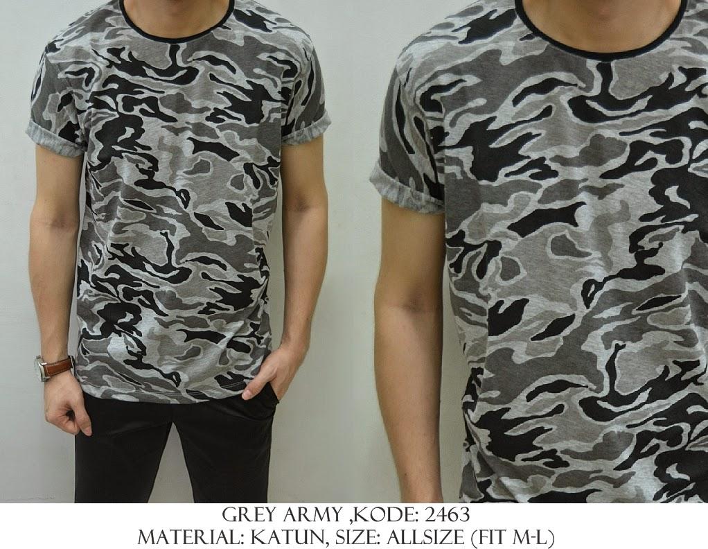Baju Distro & Baju Kemeja Grey Army | Shirostore