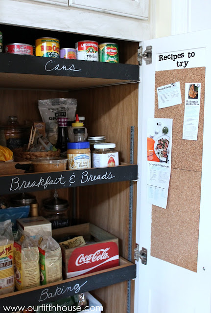 pantry with chalkboard labels and cork board