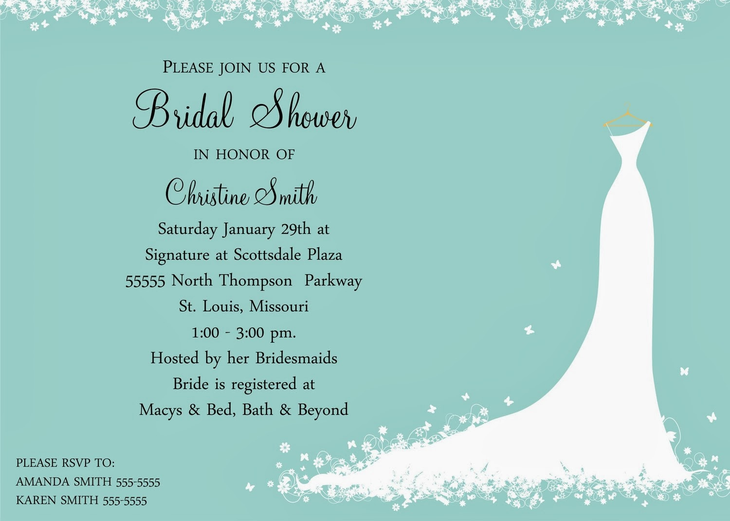 bridal shower guest list invitation unless the shower is going to be a ...