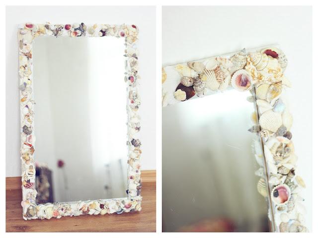 diy muschel spiegel the mermaids candy. Black Bedroom Furniture Sets. Home Design Ideas