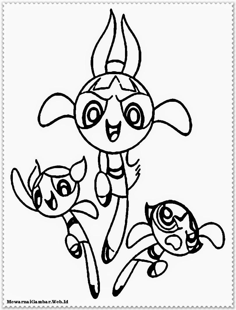 gambar powerpuff girls untuk diwarnai anak