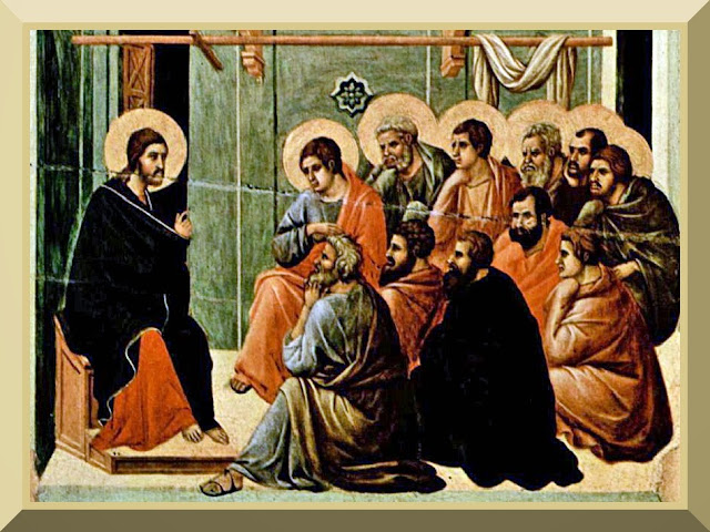 Jesus giving the Farewell Discourse to his eleven remaining disciples after the Last Supper, from the Maesta by Duccio, c. 1310.