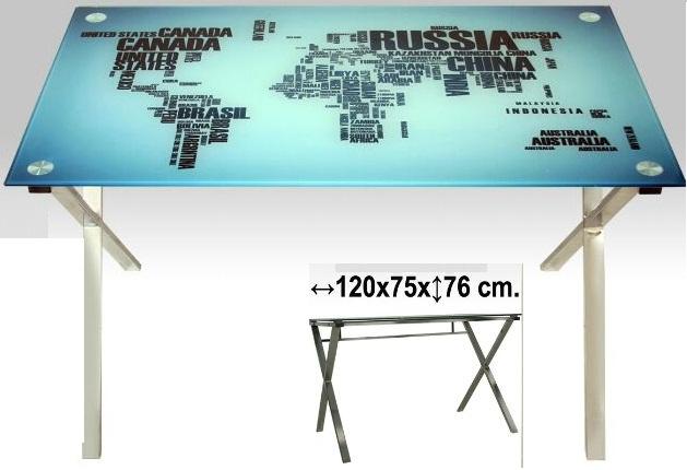 mesas con dibujo y de cristal