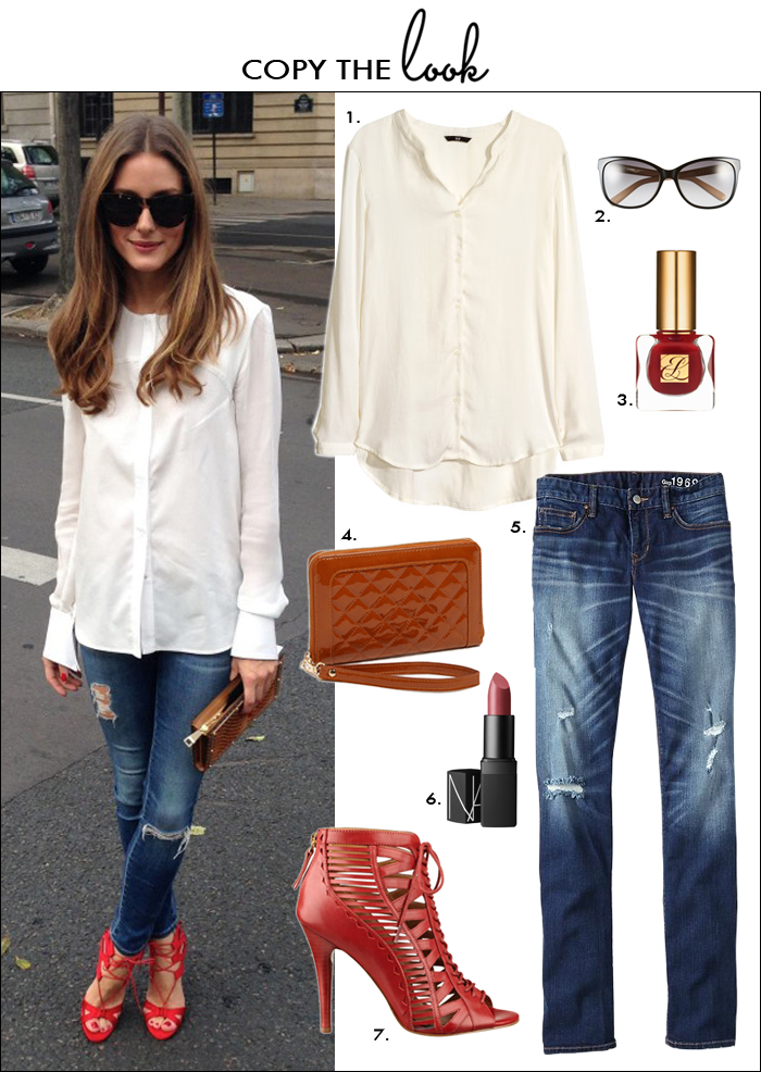 olivia palermo fashion style, look for less, how to wear distressed jeans, how to wear red shoes, lace up heels