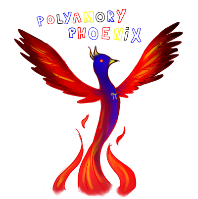 "Drawing of a red, blue, and yellow phoenix labeled ""polyamory phoenix"""