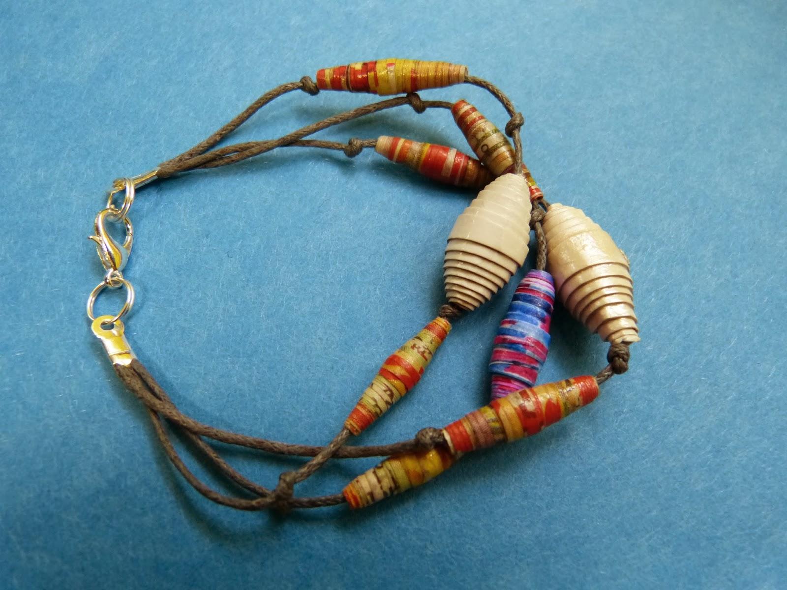 bransoletka handmade, koraliki z hazet, biżuteria z recyklingu