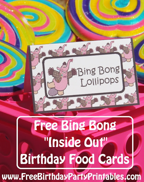 "Free Bing Bong  ""Inside Out""  Birthday Party Printables- Food Cards Lollipops"