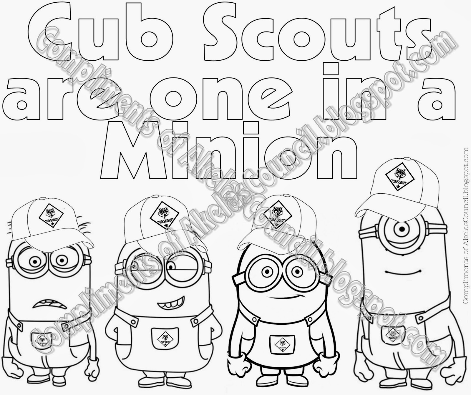 photo relating to Minion Printable Coloring Page titled Akelas Council Cub Scout Chief Doing exercises: Cub Scout Minions
