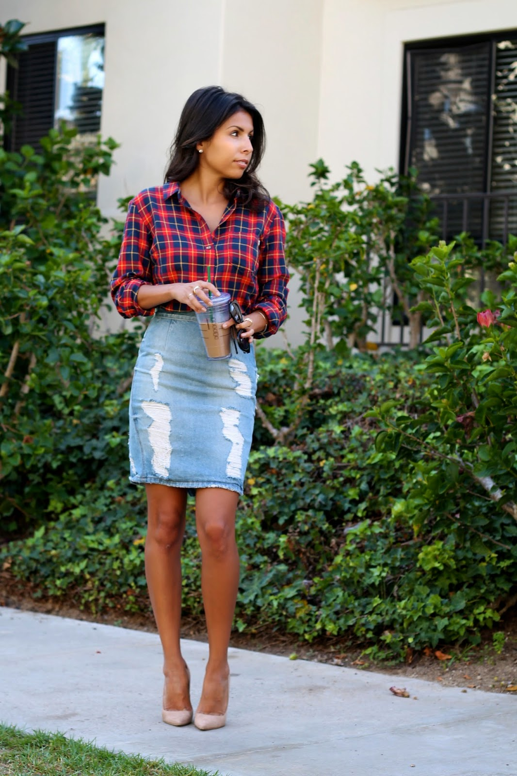 how to style flannel shirt, jimmy choo shoes, denim skirt, fall style, what is fashion