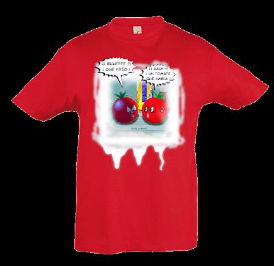 """Camiseta manga corta para niños y niñas """"Tomates que hablan"""" color rojo"""