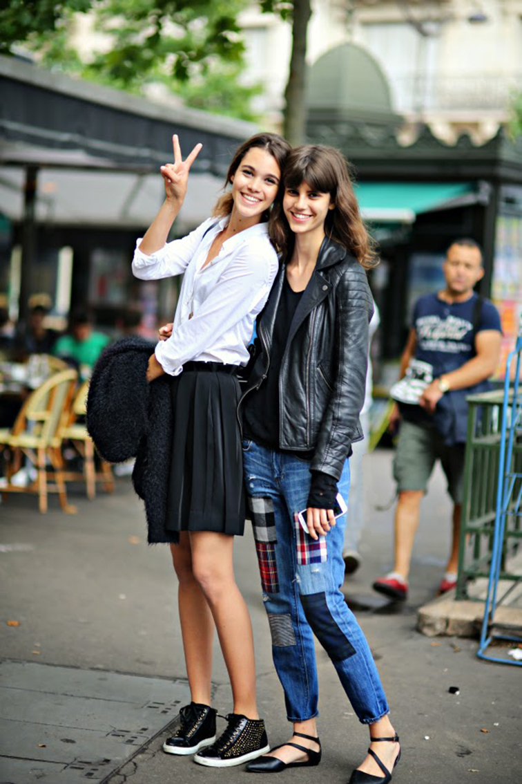 Pauline Hoarau & Antonina Pektovic after Armani Privé, couture fashion show, july 2014, street style, models off duty