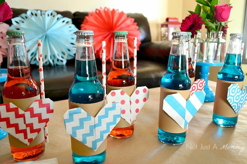 Love Is In The Air Valentine Table origami heart drink bottles