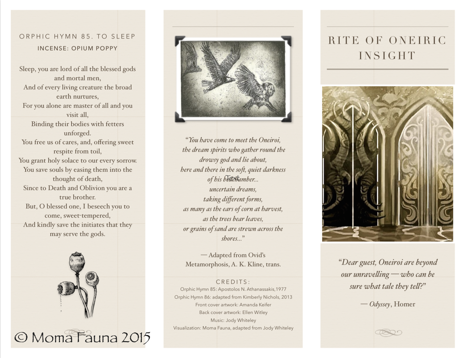 """Rite of Oneiric Insight"" pamphlet, outside panels"
