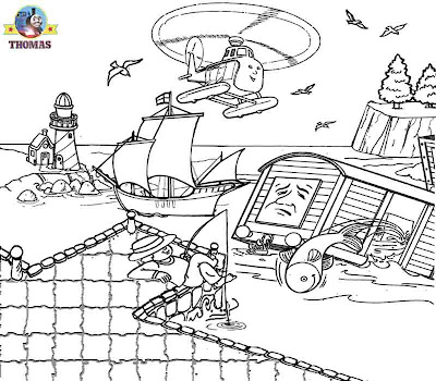 Sea rescue helicopter fish truck Thomas coloring pages for teenagers printable online art classes