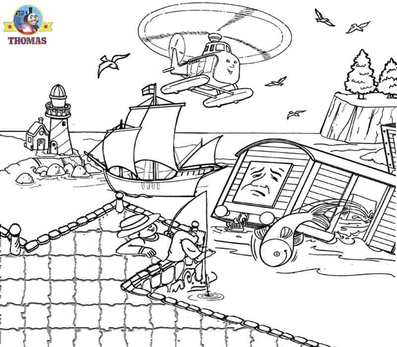 Sea rescue helicopter fish truck Thomas coloring pages for teenagers  title=