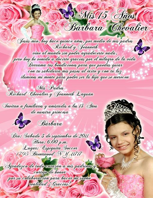 Artes DaVinci: Invitación 15 Años en color rosa, rosas y mariposas