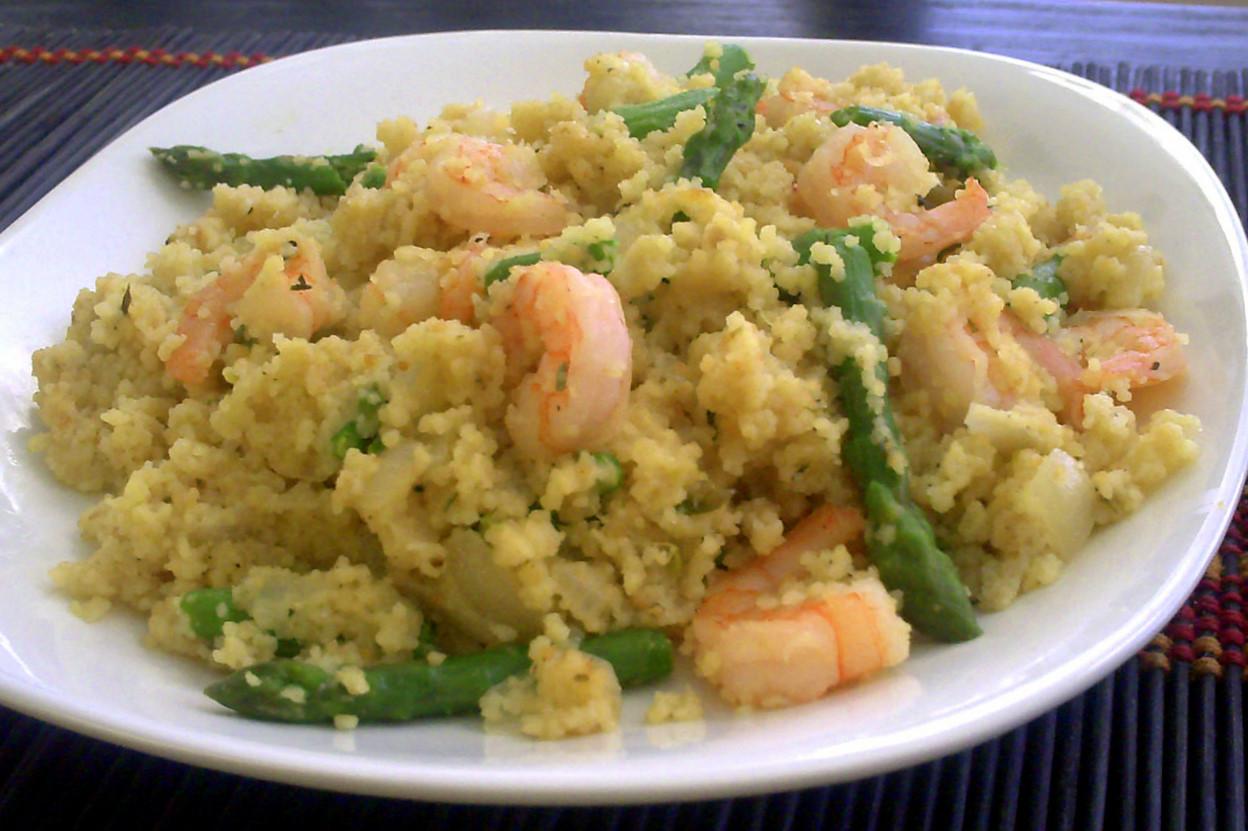 Poor Girl Eats Well: Recipe: Creamy Shrimp & Asparagus Quinoa Risotto