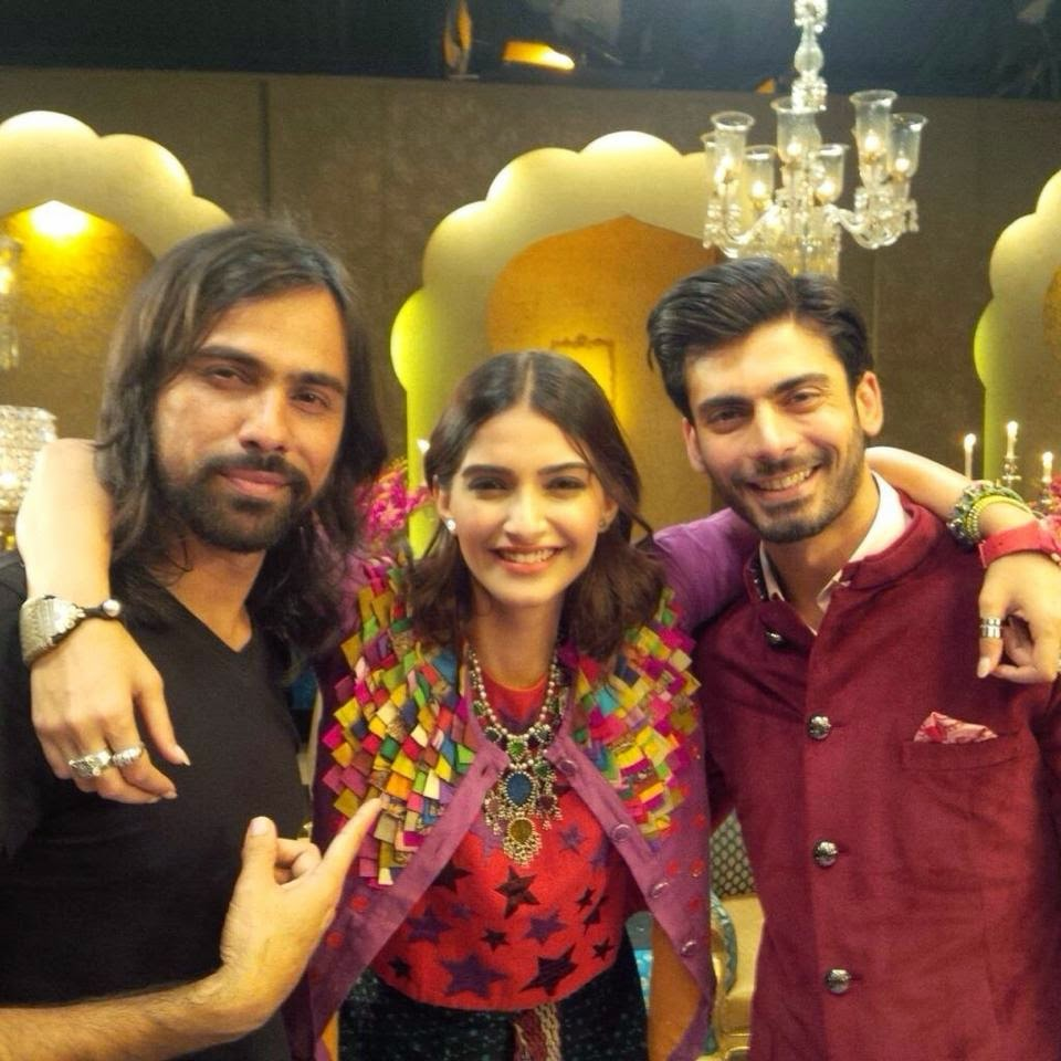 "Sonam and Fawad Khan with Feroz Khan on the shoot of a music video ""Abhi Toh Party Shuru Hui Hai"" for Khoobsurat"